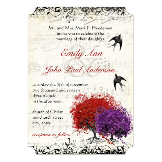 Musical Heart Leaf Red Tree Vintage Birds Wedding Card