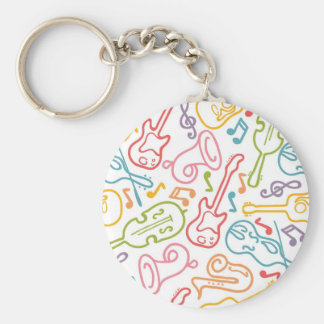 Musical instruments pattern key ring