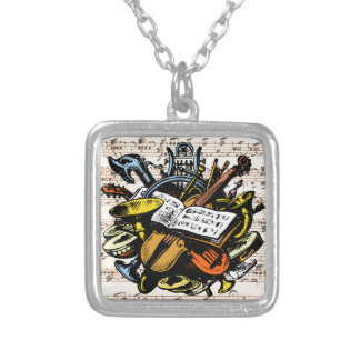 Musical Instruments Rossini Sheet Music Background Silver Plated Necklace