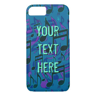 Musical Note Music Pattern Blue Green Customisable iPhone 7 Case