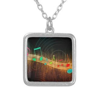 Musical Notes Design Square Pendant Necklace