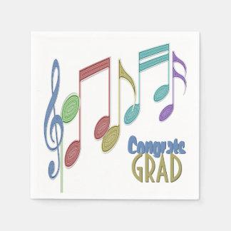 Musical Notes Linear Multicolor GRADUATION Paper Napkin