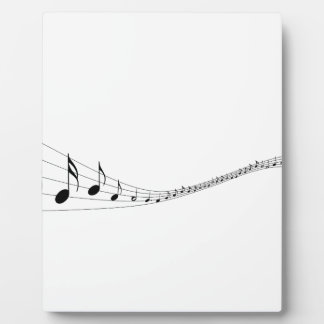 Musical notes on a wave shaped stave display plaque