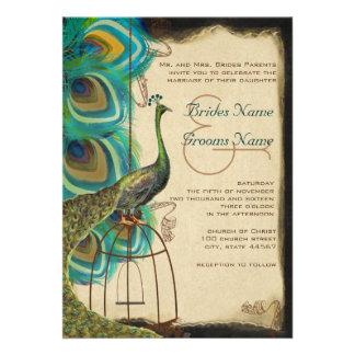 Musical Peacock Bird Cage Feather Wedding Invites