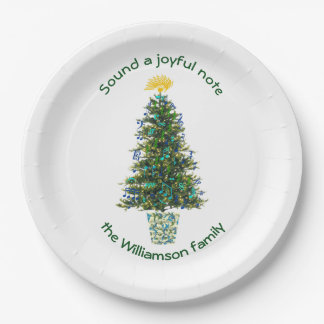 Musically Decorated Christmas Tree Custom Name Paper Plate