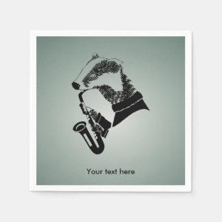 Musician Badger Saxophone Customizable Disposable Serviette