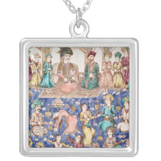 Musicians and dancers silver plated necklace