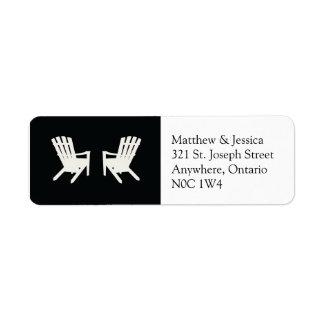 Muskoka Chair Wedding Return Address //  Black