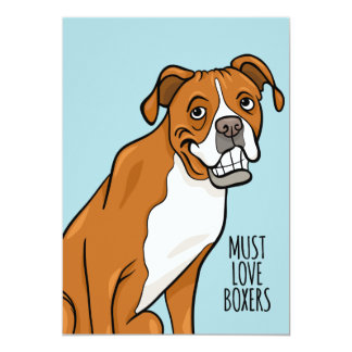 """""""Must Love Boxers"""" Cartoon Boxer Dog 5"""" x 7"""" Card"""