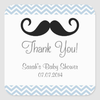 Mustache Baby Shower Thank You Stickers