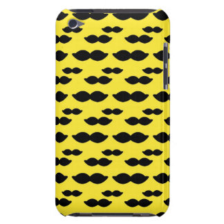 Mustache, Black Handlebar on Yellow Background Barely There iPod Covers