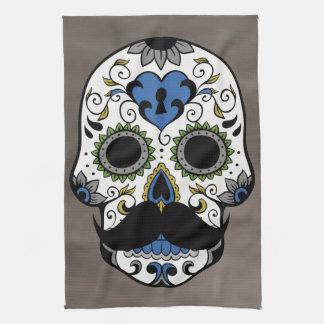 Mustache Day of the Dead Sugar Skull Tea Towel