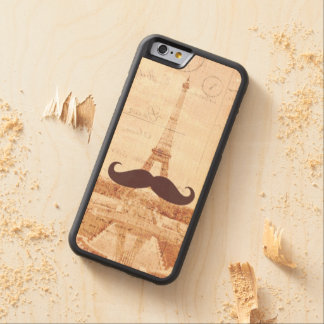 Mustache Eiffel Tower Carved Maple iPhone 6 Bumper Case