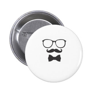 Mustache Hipster Bowtie Glasses Buttons