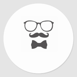 Mustache Hipster Bowtie Glasses Classic Round Sticker
