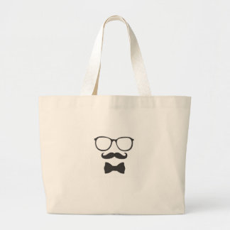 Mustache Hipster Bowtie Glasses Jumbo Tote Bag