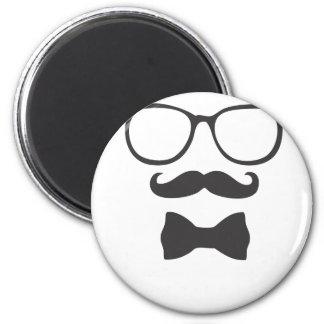 Mustache Hipster Bowtie Glasses 6 Cm Round Magnet