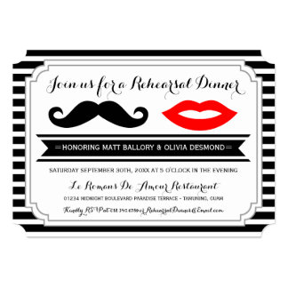 Mustache & Lips Rehearsal Dinner Invites