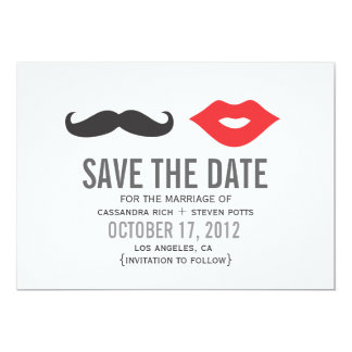 Mustache & Lips Save The Date Card 13 Cm X 18 Cm Invitation Card