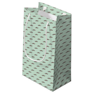 Mustache pattern on mint small gift bag