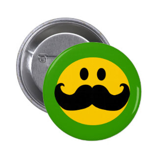 Mustache Smiley (Customizable background color) 6 Cm Round Badge
