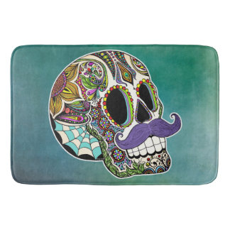 Mustache Sugar Skull Bath Mat