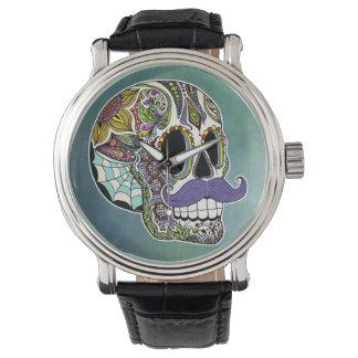 Mustache Sugar Skull Watch