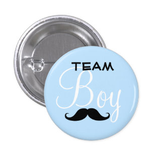 Mustache Team Boy Baby Shower 3 Cm Round Badge