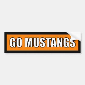Mustangs - Black Orange White Bumper Sticker