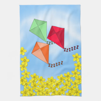 Mustard Flowers and Kites and Clouds Tea Towel