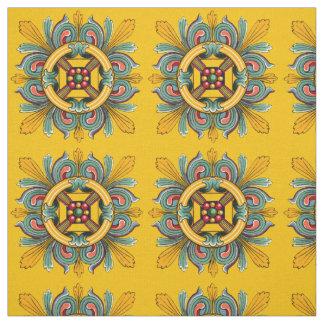 Mustard Victorian Tile Design Fabric