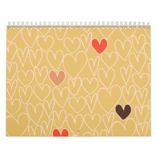 Mustard Yellow Scribble Heart Pattern Wall Calendar