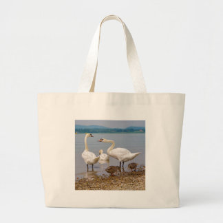 Mute swans and ducks large tote bag