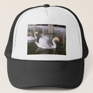 Mute swans on water trucker hat