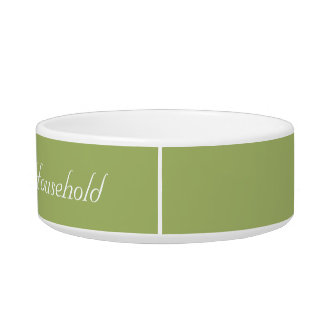 "Muted-Green ""Head of Household"" Cat Food Dish Pet Bowl"