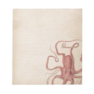 Muted Sea Rose Pink Steampunk Octopus Nature Notepad