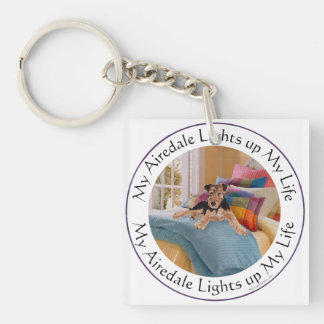 My Airedale Lights Up My Life Key Ring