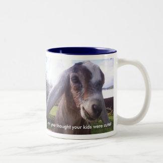 My baby is a nubian dairy goat...mug Two-Tone mug
