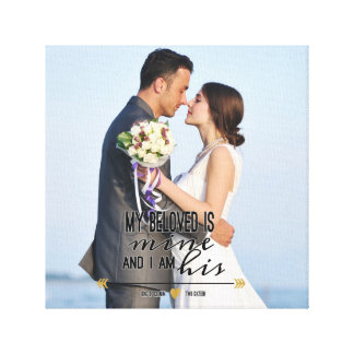 My Beloved is Mine, Scripture and Wedding Photo Canvas Print