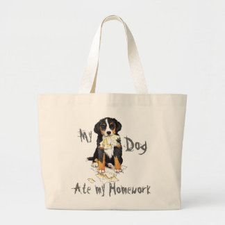My Berner Ate My Homework Large Tote Bag