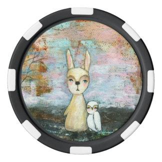 My Best Friend Whimsical Rabbit Owl Woodland Art Poker Chips