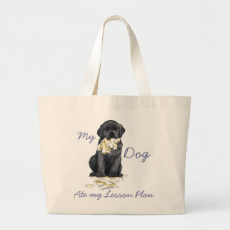 My Black Lab Ate My Lesson Plan Large Tote Bag