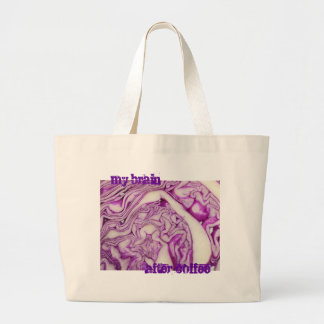 My brain after coffee large tote bag