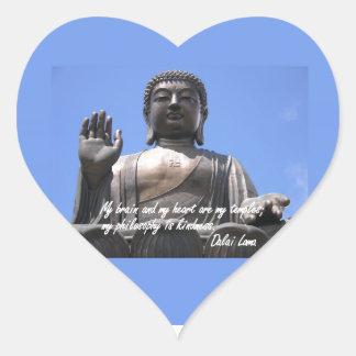 My  brain and my heart are my temples Dalai Lama Heart Sticker
