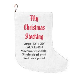 "My Custom Faux Linen Christmas Stocking 12x20"" 1-S"