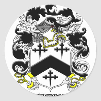 my davenport_family_crest_Black Name Round Sticker