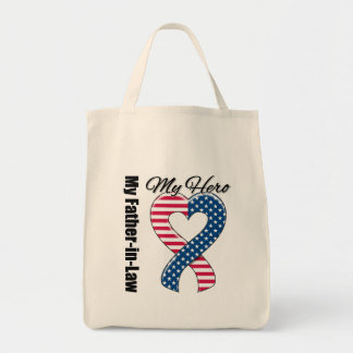 My Father-in-Law My Hero Patriotic USA Ribbon Bag