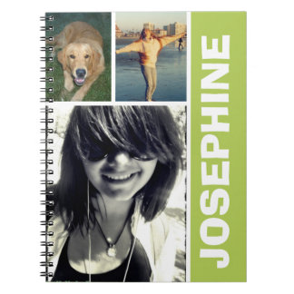 My favorite things green photo collage journal spiral notebook