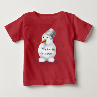 My first Christmas Baby cute red snowman Baby T-Shirt