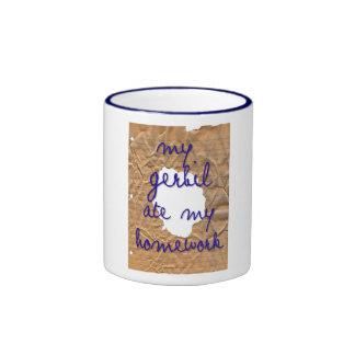 My Gerbil Ate My Homework Ringer Coffee Mug